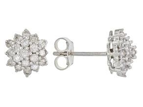 White Diamond 10k White Gold Earrings .55ctw