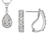 White Diamond Rhodium Over Sterling Silver Jewelry Set .20ctw