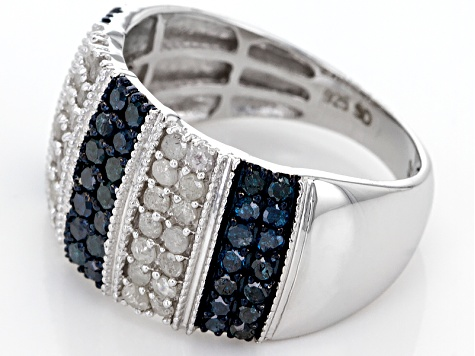 Blue And White Diamond Rhodium Over Sterling Silver Ring 1.17ctw