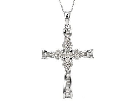 White Diamond 10k White Gold Pendant .78ctw