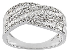 White Diamond 10k White Gold Ring .49ctw