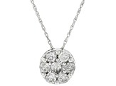 White Diamond 10k White Gold Pendant .50ctw