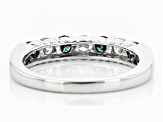 Blue And White Diamond 10k White Gold Ring .75ctw