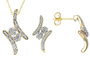 White Diamond 10k Yellow Gold Jewelry Set .25ctw