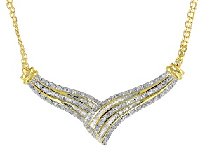 White Diamond 14k Yellow Gold Over Sterling Silver Necklace .50ctw