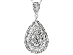 White Diamond 10k White Gold Pendant .88ctw