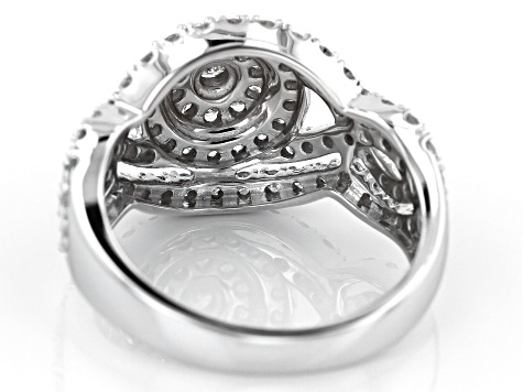 White Diamond 10k White Gold Ring 1.05ctw