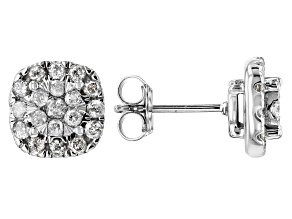 White Diamond 10k White Gold Earrings .84ctw