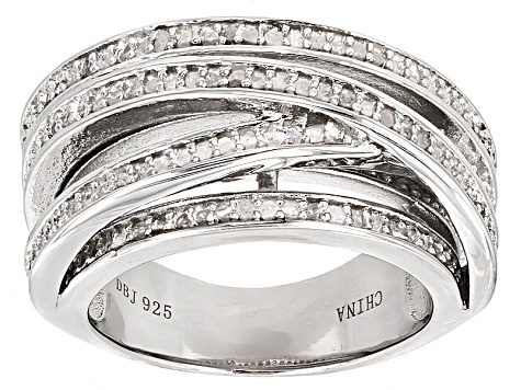White Diamond Rhodium Over Sterling Silver Ring .80ctw