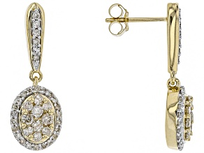 White Diamond 10k Yellow Gold Earrings .78ctw