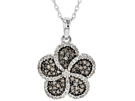Champagne And White Diamond Rhodium Over Sterling Silver Pendant .86ctw