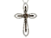 Champagne And White Diamond Rhodium Over Sterling Silver Pendant 1.04ctw
