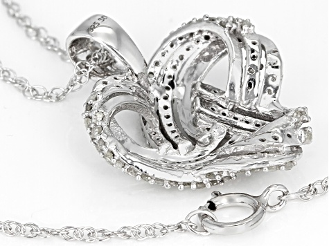 White Diamond Rhodium Over Sterling Silver Pendant .75ctw