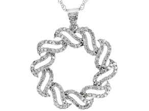 White Diamond Rhodium Over Sterling Silver Pendant .81ctw