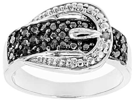 6d74d88e8 Black And White Diamond Rhodium Over Sterling Silver Ring .25ctw - DOCN485  | JTV.com