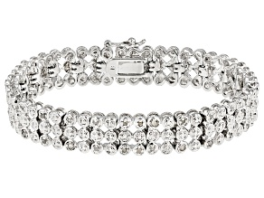 White Diamond Rhodium Over Brass Bracelet .50ctw