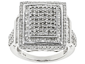 White Diamond Rhodium Over Sterling Silver Ring 1.43ctw