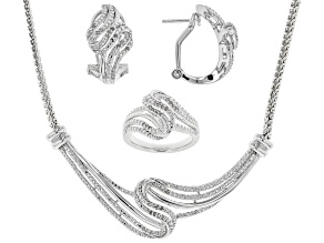 White Diamond Rhodium Over Brass Jewelry Set .50ctw