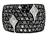 Black and White Diamond Rhodium Over Sterling Silver Wide Band Ring 2.00ctw
