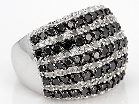 Black and White Diamond Rhodium over Sterling Silver Ring 2.00ctw