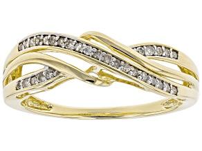 white diamond 10k yellow gold ring .15ctw