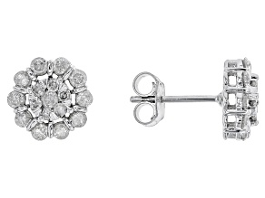 White Diamond 10k White Gold Earrings .86ctw
