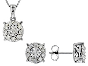 White Diamond Rhodium over Sterling Silver Pendant and Earrings Set 1.00ctw