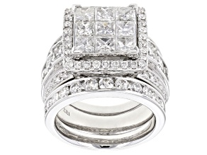 White Diamond 14k White Gold Ring with 2 Matching Bands 5.00ctw