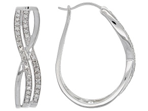 White Diamond Rhodium over Sterling Silver Earrings .55ctw