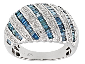 Blue and White Diamond Rhodium over Sterling Silver Ring 1.00ctw