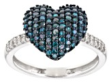 Blue and White Diamond Rhodium over Sterling Silver Ring .67ctw
