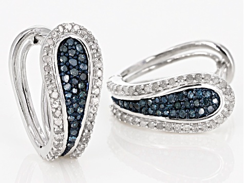 Blue and White Diamond Rhodium over Sterling Silver Earrings .92ctw