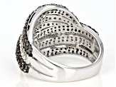 Champagne and White Diamond Rhodium over Sterling Silver Ring 1.66ctw