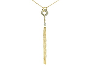 White Diamond 10k Yellow Gold Adjustable Necklace .13ctw