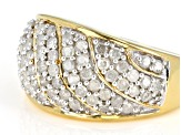 White Diamond 14K Yellow Gold over Sterling Silver Ring 1.05ctw