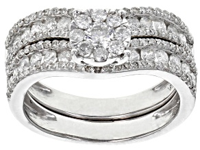 White Diamond 10K White Gold Ring with Matching Band 1.50ctw