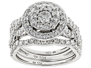 White Diamond 10K White Gold Ring with 2 Bands 2.00ctw