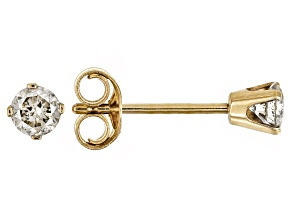 White Diamond 10K Yellow Gold Stud Earrings .25ctw