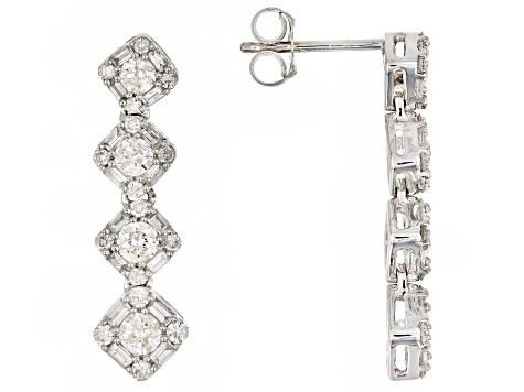 White Diamond 14K White Gold Earrings 1.00ctw