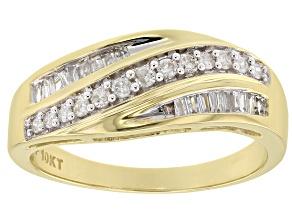 White Diamond 10k Yellow Gold Ring 0.33ctw