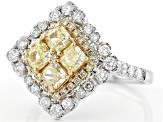 Natural Yellow and White Diamond 14K Two-Tone Gold Ring 2.14ctw