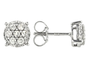 White Diamond Rhodium Over Sterling Silver Earrings 0.25ctw