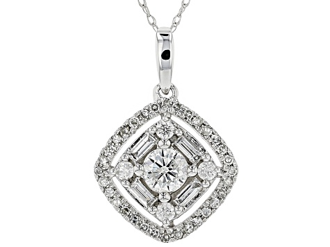 White Diamond 10K White Gold Pendant 0.75ctw