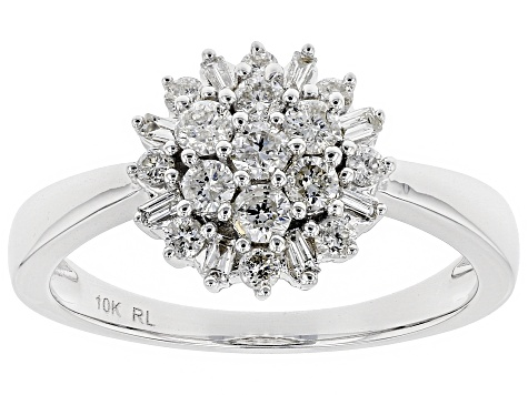 White Diamond 10K White Gold Cluster Ring 0.50ctw
