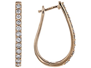 White Diamond 10k Rose Gold Hoop Earrings 1.00ctw