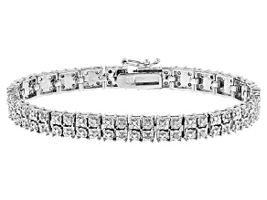 White Diamond Rhodium Over Brass Bracelet .25ctw