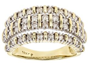 White Diamond 10K Yellow Gold Ring 0.82ctw