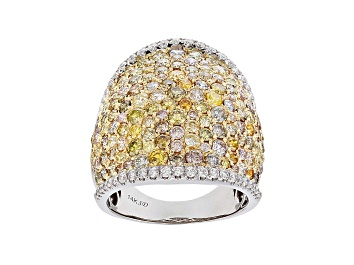 Picture of Natural Multi Color Diamond 14K White Gold Ring 4.19ctw
