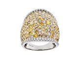 Natural Multi Color Diamond 14K White Gold Ring 4.19ctw