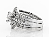White Diamond 14K White Gold Ring With Bands 1.00ctw